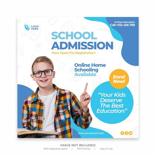 Promotion d'admission à la rentrée scolaire pour le modèle de bannière de publication sur les médias sociaux