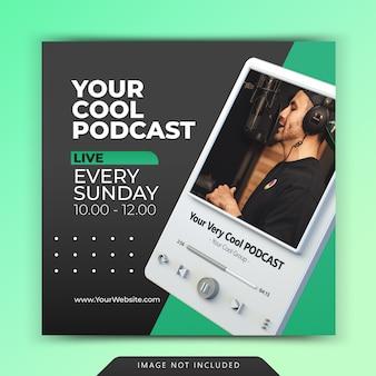 Promotion de la chaîne de podcast pour les modèles d'articles sur les réseaux sociaux