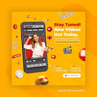 Promotion de la chaîne youtube de médias sociaux de concept créatif pour le modèle de publication instagram