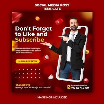 Promotion de la chaîne youtube pour le modèle de bannière de publication instagram
