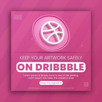 Promotion commerciale de l'icône de dribbble de rendu 3d pour le modèle de conception de publication sur les médias sociaux