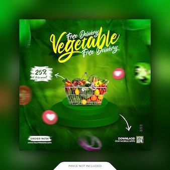 Promotion de légumes sur les réseaux sociaux et modèle de publication instagram