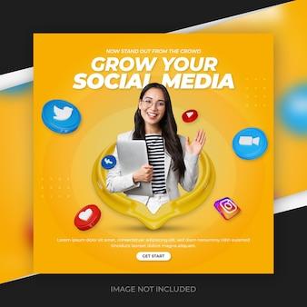 Promotion des médias sociaux d'entreprise pour le modèle de publication instagram