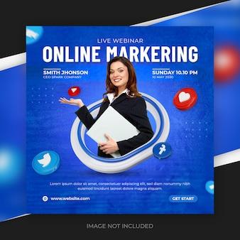 Promotion des médias sociaux de marketing en ligne pour le modèle de publication instagram