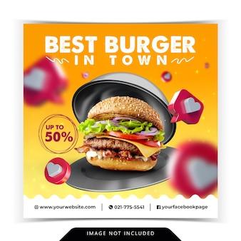 Promotion de menu burger avec couverture de nourriture en acier inoxydable modèle de bannière de médias sociaux 3d