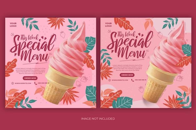 Promotion de menu de crème glacée rose mignon médias sociaux ensemble de modèles de bannière post instagram