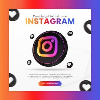 Promotion avec modèle de publication instagram de rendu 3d