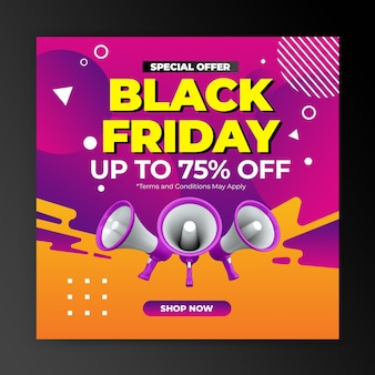 Promotion de l'offre spéciale vendredi noir pour le modèle de conception de post instagram