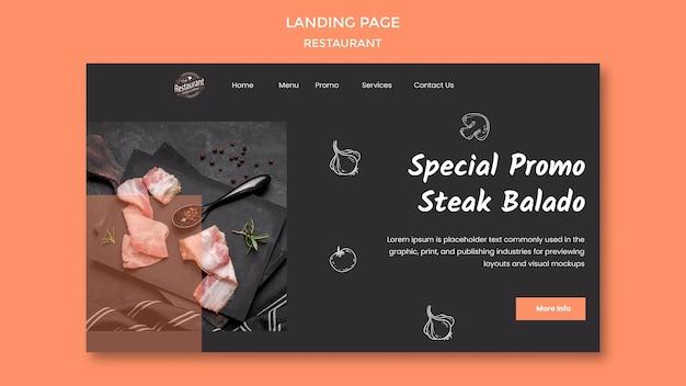 Promotion de la page de destination du restaurant