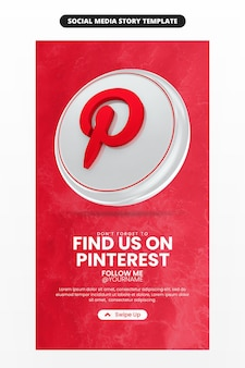 Promotion de la page d'entreprise avec icône de rendu 3d pinterest pour les médias sociaux et modèle d'histoire instagram