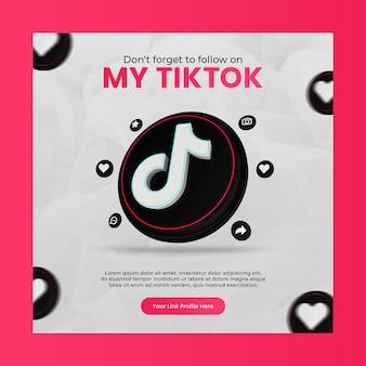 Promotion de la page d'entreprise avec l'icône de tiktok de rendu 3d pour le modèle de publication instagram