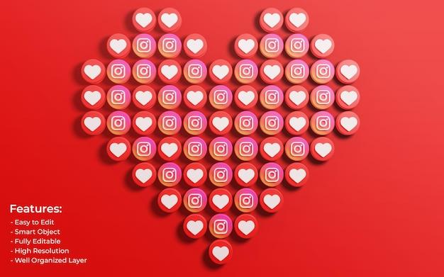 Promotion de la page d'entreprise pour la publication instagram entourée de like 3d