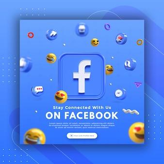 Promotion de la page d'entreprise avec un rendu 3d facebook pour le modèle de publication instagram