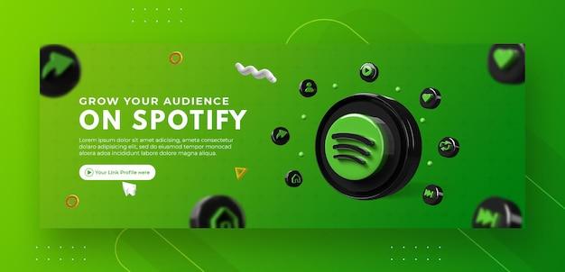 Promotion de page entreprise avec rendu 3d spotify pour modèle de couverture facebook