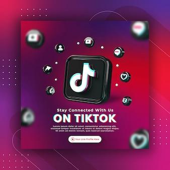 Promotion de page d'entreprise avec un rendu 3d tiktok pour modèle de publication instagram