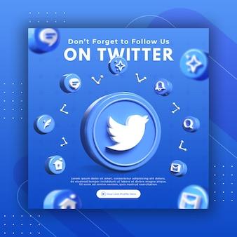 Promotion de page d'entreprise avec un rendu 3d twitter pour le modèle de publication instagram