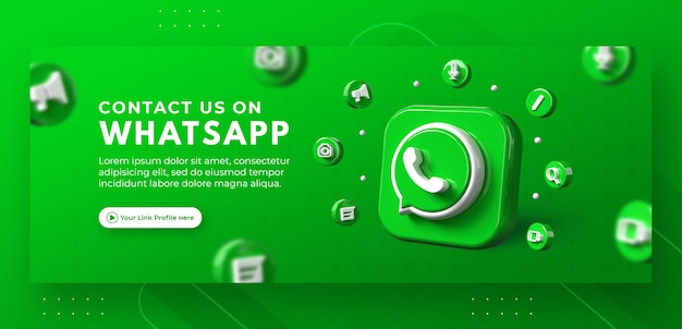 Promotion de page d'entreprise avec un rendu 3d whatsapp pour le modèle de couverture facebook