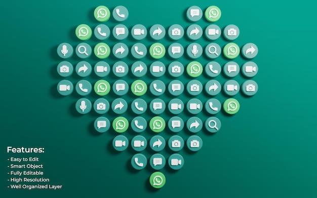 Promotion pour la publication whatsapp entourée de 3d comme l'icône d'amour et de commentaire