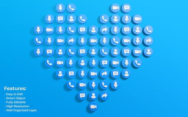 Promotion pour la publication zoom entourée de 3d comme l'icône d'amour et de commentaire