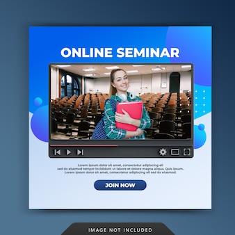 Promotion de séminaire d'atelier de classe en ligne pour le modèle de publication instagram sur les médias sociaux