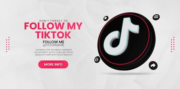 Promotion tiktok avec icône de rendu 3d tiktok pour le modèle de publication instagram