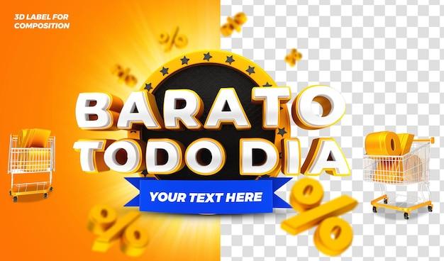 Promotion tous les jours rendu 3d pour la campagne brésilienne