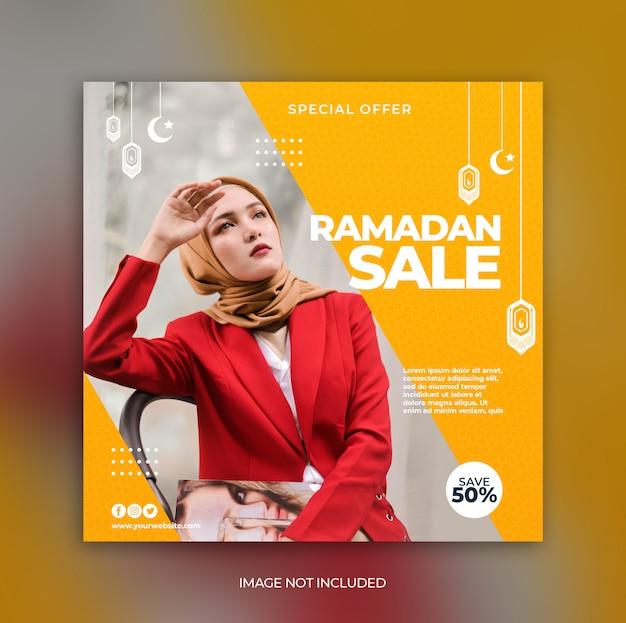 Promotion de la vente du ramadan pour le modèle de bannière de publication sur les médias sociaux instagram