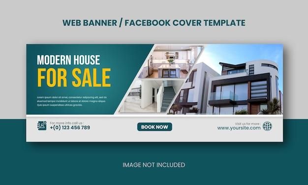 Propriété de maison moderne immobilière vendant une bannière web ou une couverture facebook