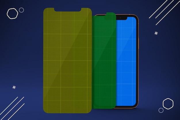 Protecteurs d'écran de téléphone portable, maquette de smartphone