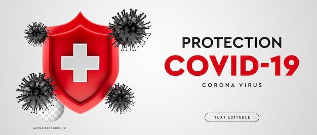 Protection de bannière 3d contre le virus corona symbole covid-19