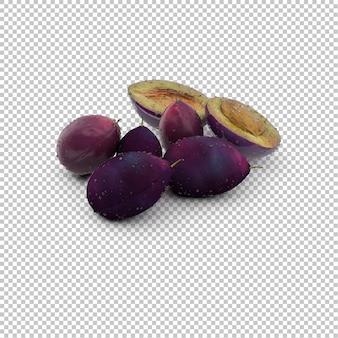 Prune bleue isométrique