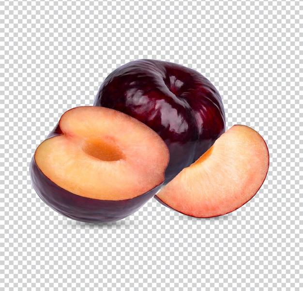 Prune rouge fraîche avec des feuilles isolées psd premium