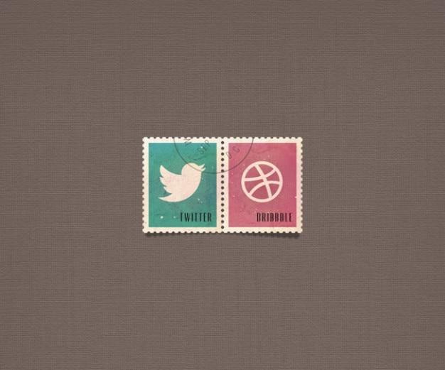 Psd boutons sociaux sociaux timbre icônes
