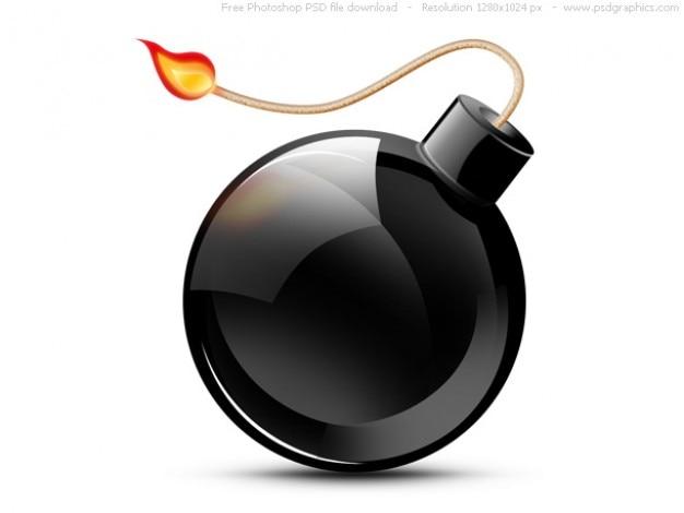 Psd icône noire bombe brûler