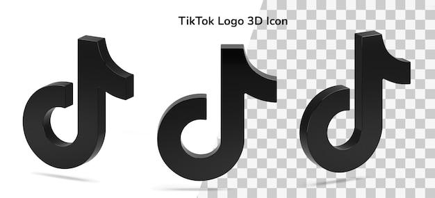Psd isolé du logo tiktok icône de rendu 3d actif