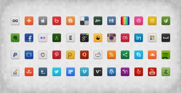 Psd sociale icône icônes de médias sociaux