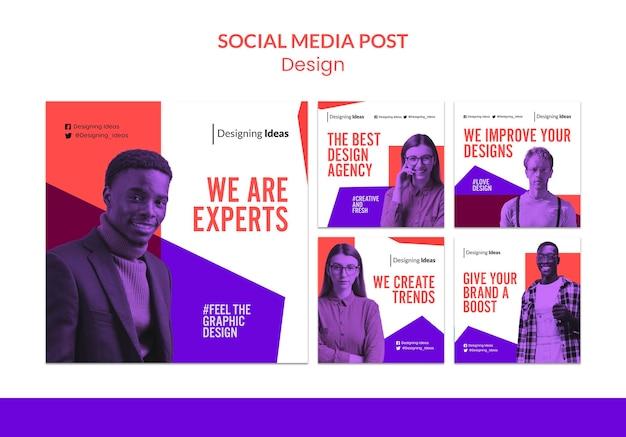 Publication d'experts en design sur les réseaux sociaux