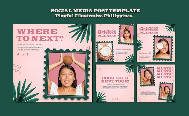 Publication illustrée playfull sur les réseaux sociaux aux philippines