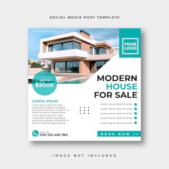 Publication instagram de médias sociaux immobiliers ou modèle de publicité de bannière web carrée