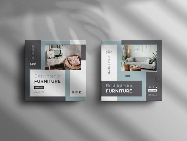Publication instagram minimaliste et bannière de mobilier d'intérieur square real estate avec une maquette de luxe