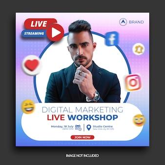 Publication sur les médias sociaux de l'atelier en direct, modèle de publication instagram