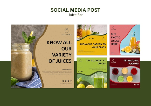 Publication de médias sociaux au bar à jus naturel