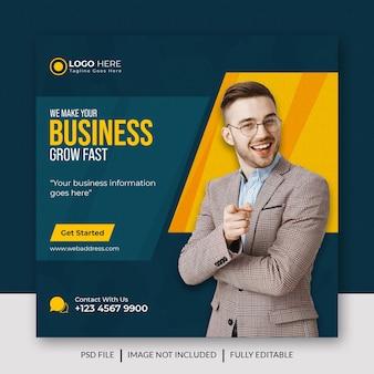 Publication de médias sociaux et bannière web de l'agence de marketing numérique