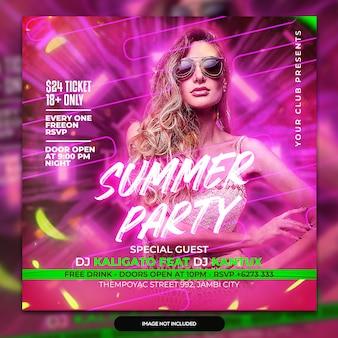 Publication sur les médias sociaux et bannière web du dépliant du club dj party