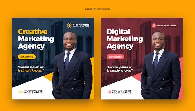 Publication de médias sociaux et bannière web de marketing d'entreprise numérique