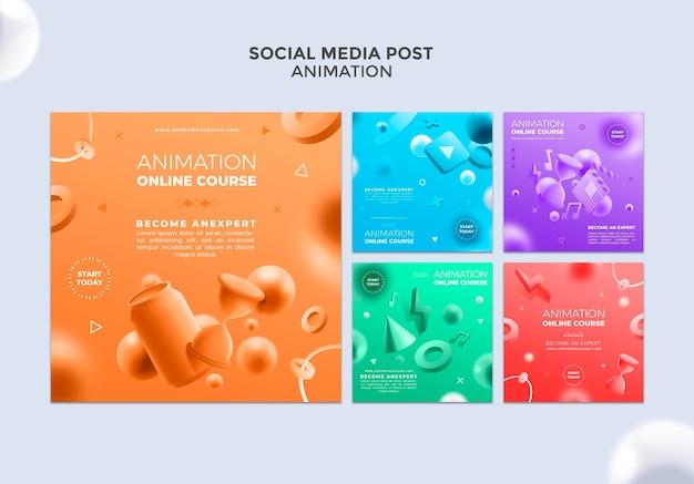 Publication de médias sociaux de classe d'animation