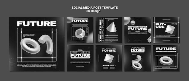 Publication de médias sociaux de conception 3d