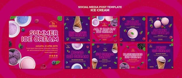 Publication de médias sociaux sur la crème glacée