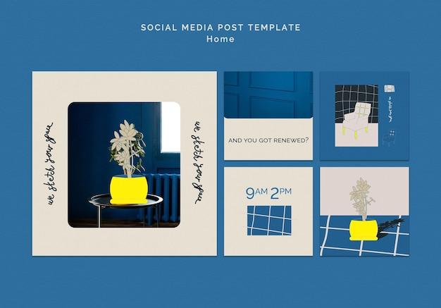 Publication de médias sociaux de décoration de maison