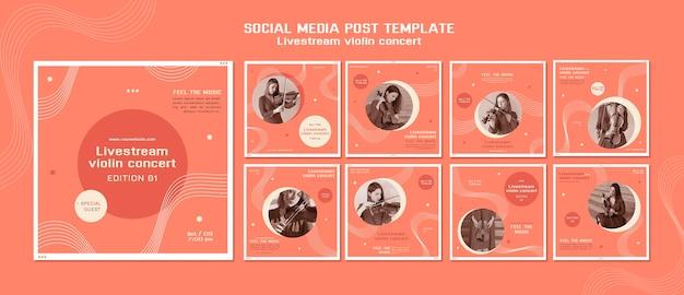 Publication sur les médias sociaux du concert de violon en direct